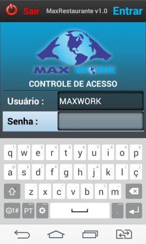 Login Sistema Mobile Max Restaurante